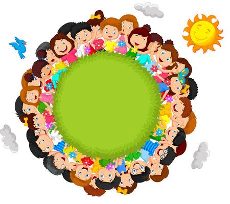 Crowd of children cartoon Imagens - 35858843
