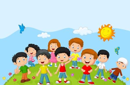 幸せな漫画の子供たち  イラスト・ベクター素材