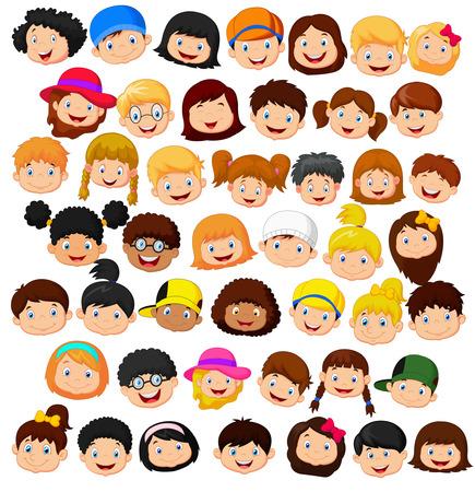 caras tristes: Establecer cabeza niños de dibujos animados