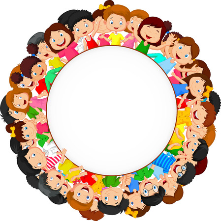children circle: Crowd of children cartoon with blank space