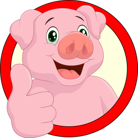 swine: Cartoon pig mascot Illustration