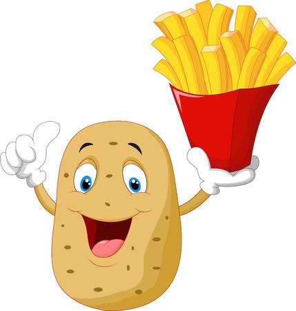 귀여운 감자 만화 감자 튀김이 엄지 손가락을 포기 들고 일러스트