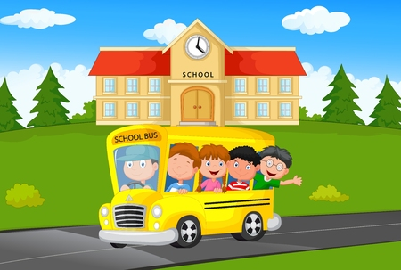 Cartoon School Kids Riding a Schoolbus Vettoriali