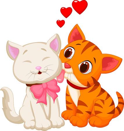 Cartoon cat licking Illustration