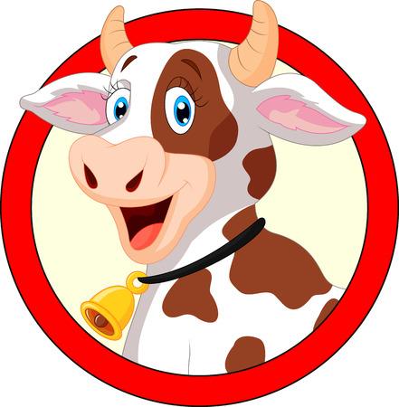 jeunes joyeux: Vache heureuse de bande dessin�e Illustration