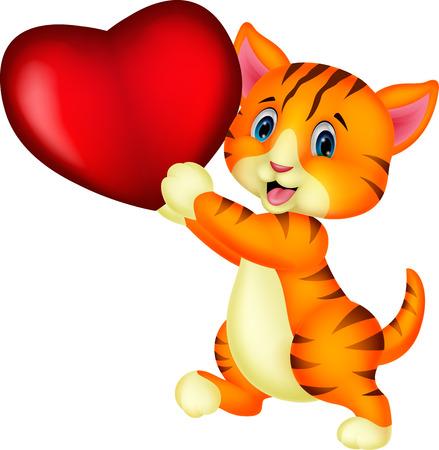 Comic-Katze mit roten Herzen