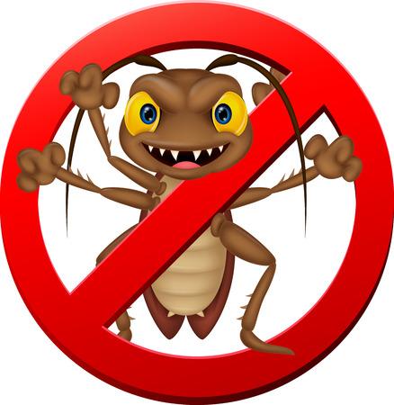 Stop cartoon cockroach illustration Vector