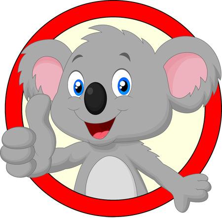 Cute koala cartoon giving thumb up 版權商用圖片 - 35863196