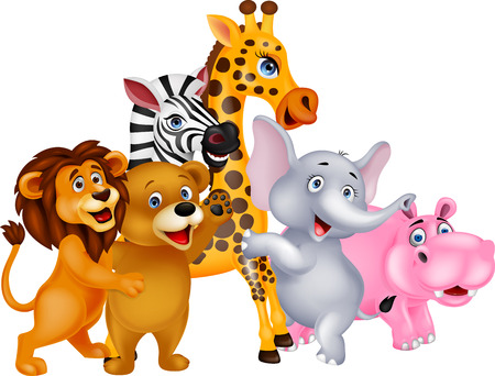 cartoon zebra: Cartoon wild animal posing Illustration