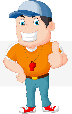personal trainer: Cartoon coach giving a thumbs up