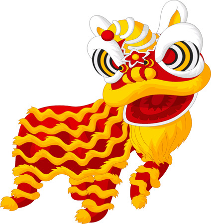 lion dance: Cartoon Chinese lion dancing