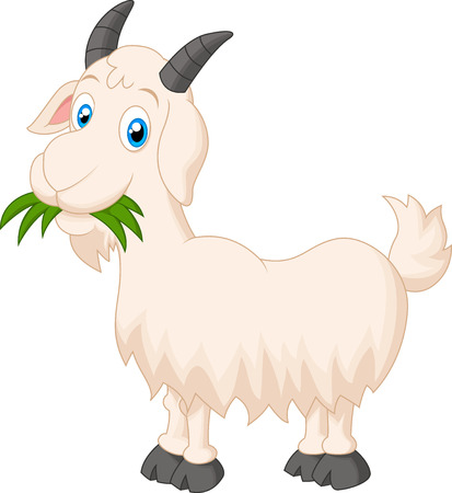 smiling goat: Cartoon goat eating grass
