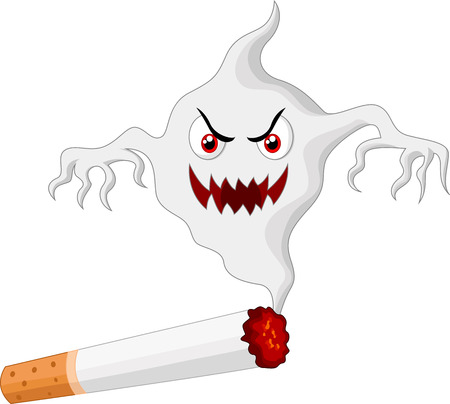 harm: Cigarette with monster cartoon in smoke Illustration