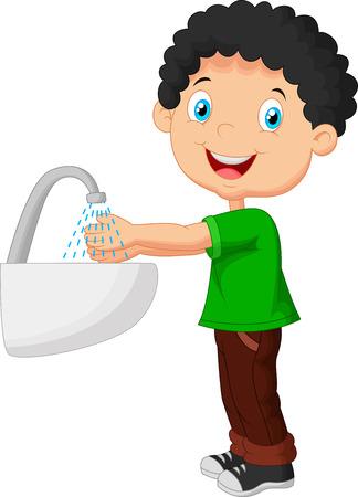 limpieza: Muchacho lindo de la historieta que se lava las manos Vectores