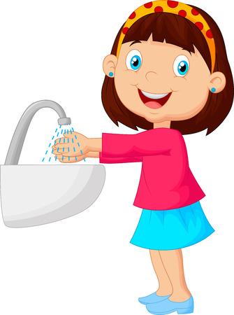 Menina bonito dos desenhos animados lavar as m