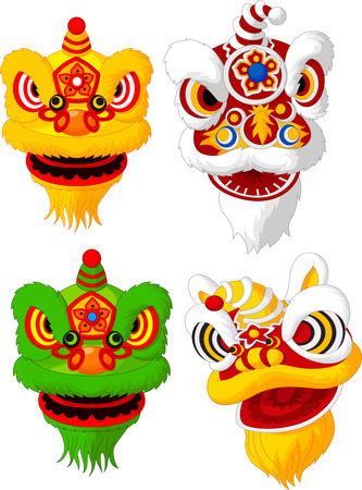 cartoon dance: Cartoon Chinese lion head collection Illustration
