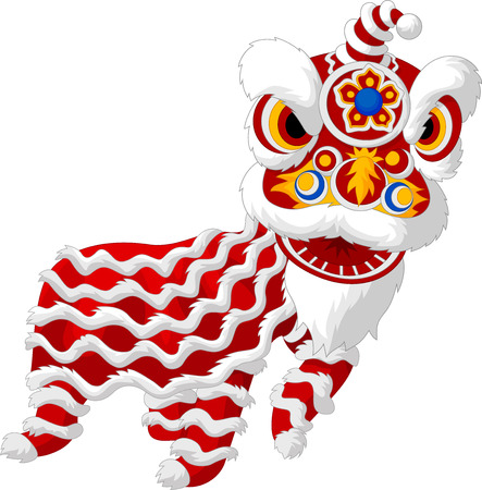Cartoon chinesischen Löwentanz Standard-Bild - 35858869