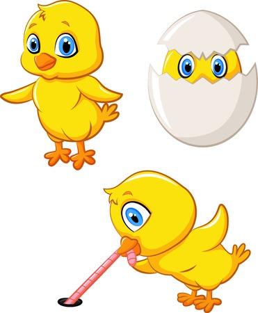 Cartoon happy chick collection set Vector