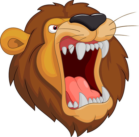 roar: Lion head mascot cartoon