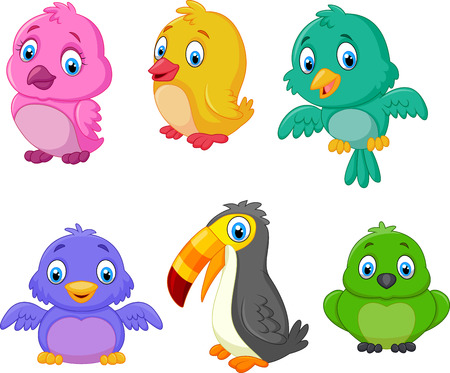 collection: Cartoon birds collection set