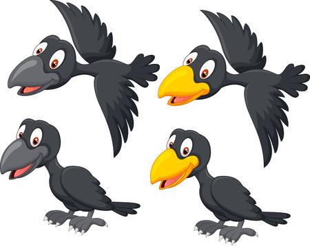 pajaro caricatura: Cuervo lindo del dibujo animado
