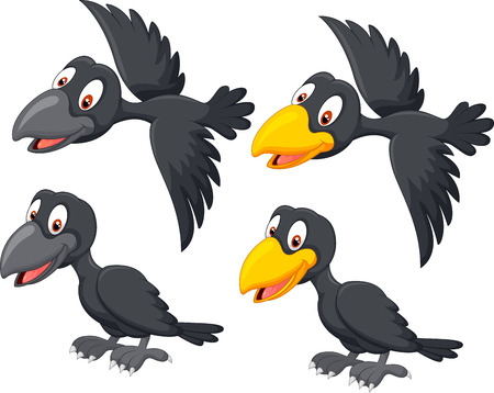 Cute cartoon raven
