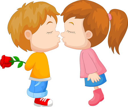 lovers kissing: Cartoon boy and girl kissing Illustration