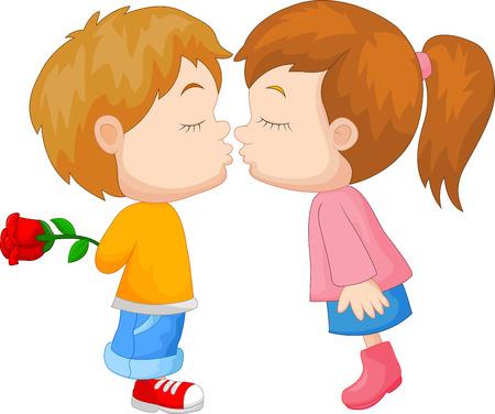 kinderen: Cartoon jongen en meisje kussen Stock Illustratie