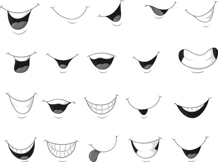 laugh emoticon: Cartoon set of smiling mouth