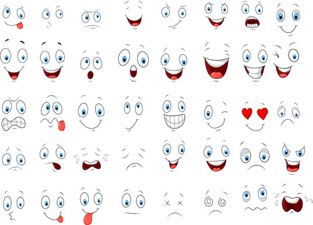 face expressions: Caricatura de diversas expresiones de la cara