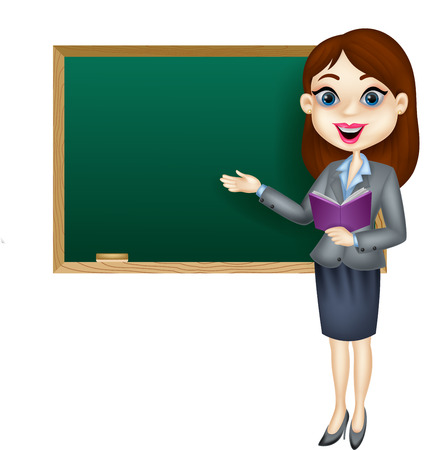 teachers: Cartoon female teacher standing next to a blackboard Illustration