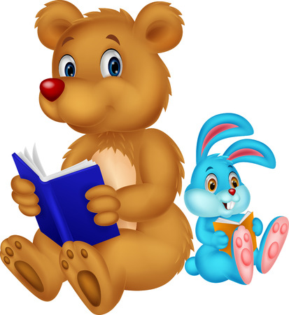 Cartoon bear and rabbit reading book