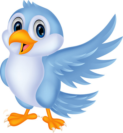 tweet: Cute cartoon blue bird waving