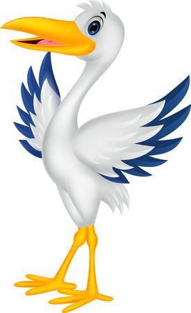 posing: Cartoon stork posing Illustration
