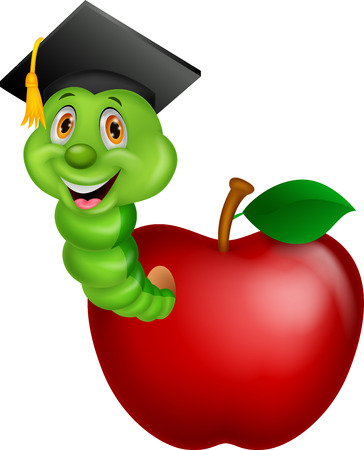 nerdy: Cartoon Worm wearing a raduation cap crawling out of an apple