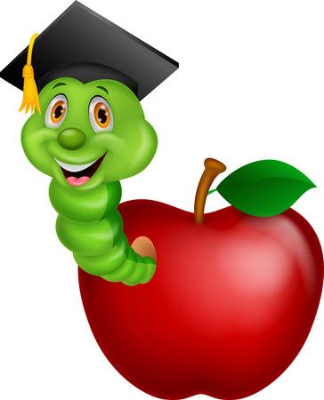 gusano caricatura: Gusano de la historieta con una gorra raduation se arrastra de una manzana
