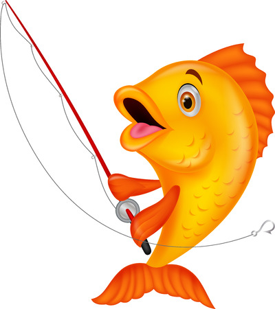 Cute fish cartoon holding fishing rod Vectores