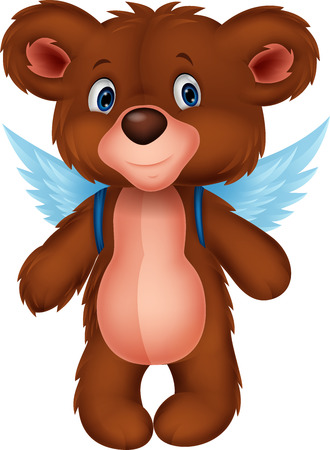 Cartoon baby bear with wings Vector