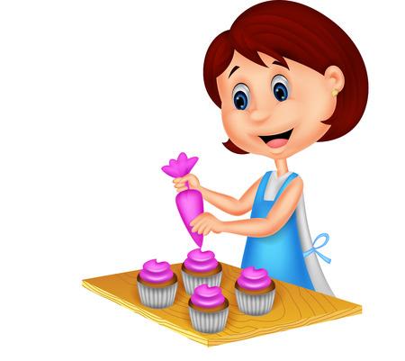 Cartoon woman with apron decorating cupcakes Vector