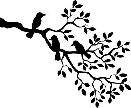 arboles blanco y negro: Rama de un árbol de la historieta con la silueta de aves