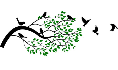 bird silhouette: Cartoon tree and bird silhouette