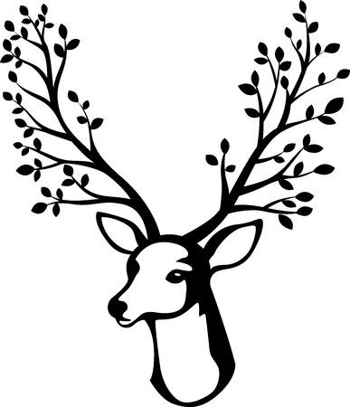 horny: Deer head cartoon with tree branch horn Illustration
