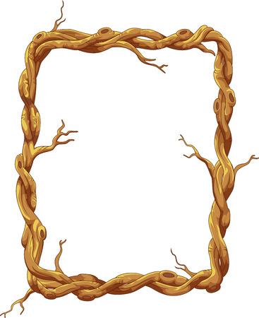 arboles de caricatura: De dibujos animados Marco hecho de tronco de árbol y ramas