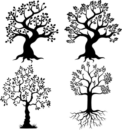 arbres silhouette: Arbre cartoon silhouette Illustration