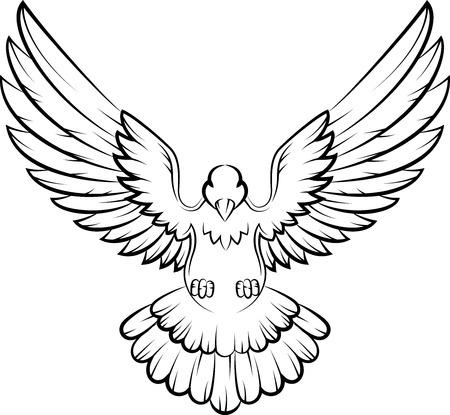 paloma caricatura: Cartoon Dove pájaros logo para el concepto de paz y diseño de la boda Vectores