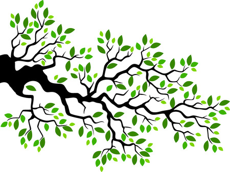 Green leaf tree branch cartoon Vektorové ilustrace