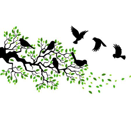Rama de un árbol de la historieta con la silueta de aves Ilustración de vector