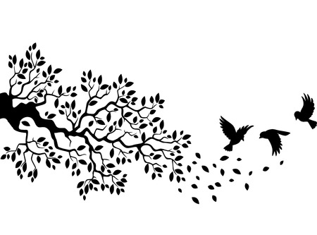 bird wing: Cartoon tree branch with bird silhouette