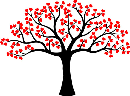 Stylized love tree cartoon made of hearts Çizim
