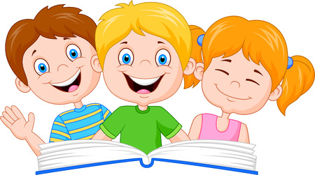 child girl: Cartoon kids reading book